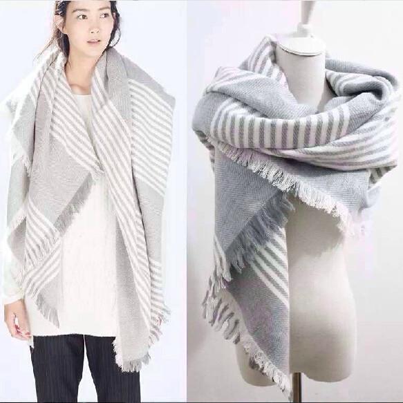 2016 зима шарф полосы новый конструктор шали обруча женщины толстый теплый кашемир одеяло шарфы рождество