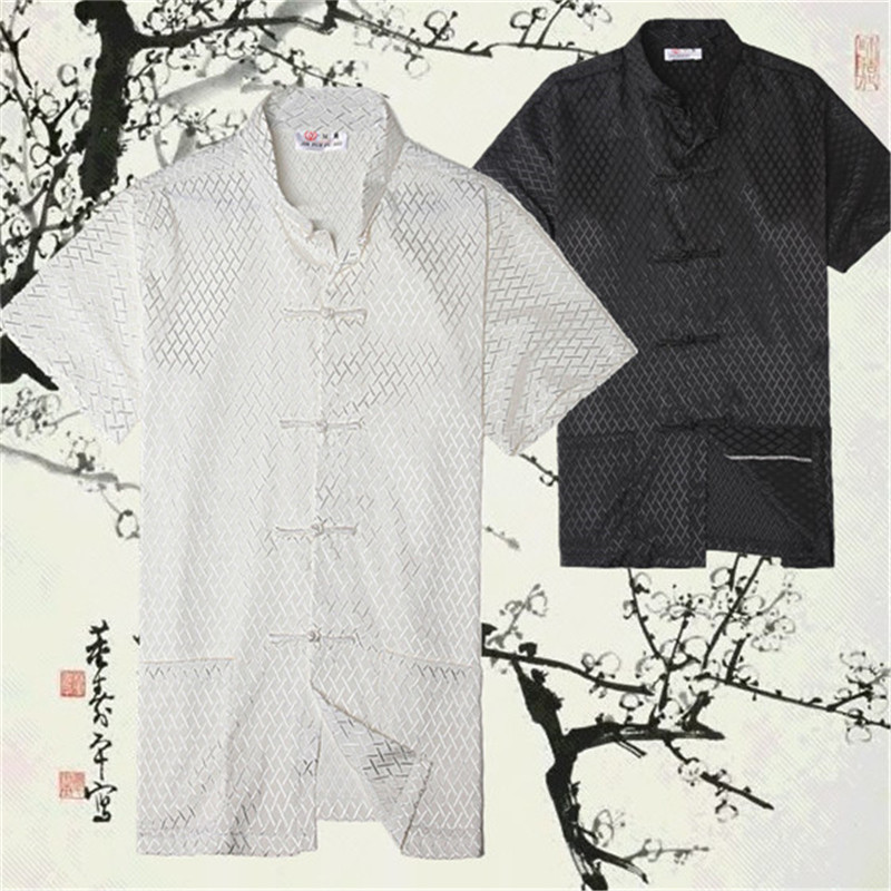 Hot Mens Silk Shirt Chinese Traditional Clothing For Men Tang Suit Tops Plaid Short sleeve Shirt Kung Fu Suit Plus Size