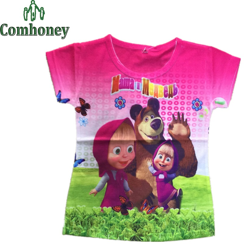 Baby Masha and Bear T Shirt Cartoon Short Sleeve Infant Boys Girls Infant T-Shirt for School Students Children's Summer Clothes(China (Mainland))