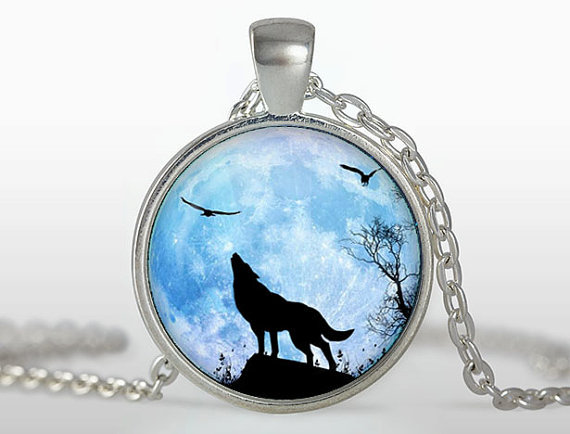 (3 pieces/lot) Wolf Pendant Jewelry Colar Silver chain Art Photo Flying Eagle statement necklace glass cabochon gift accessories(China (Mainland))