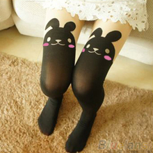 New Arrival Japan Cute Sexy Rabbit Animal Print Over Knee BUNNY TAIL TATTOO TIGHTS PANTYHOSE 7E87