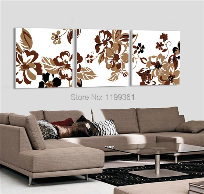 3 Piece Free Shipping Modern Wall Painting Abstract Brown Flower Living Room Home Decoration Art Picture Paint on Canvas Prints(China (Mainland))