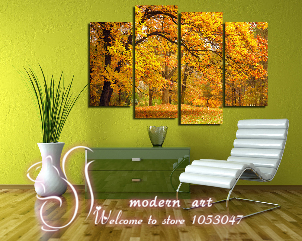 4 panels hd images printed canvas wall decor all trees for 4 all decor