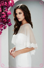 Scialli sposa avvolge 2015 bianco avorio chiffon da sposa in pizzo boleros giacche da sposa custom made(China (Mainland))