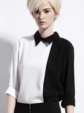 White Black Contrast Long Sleeve Turn Down Shirt Collared Casual Women Shirt Blouse 2015 Spring New Women Fashion(China (Mainland))