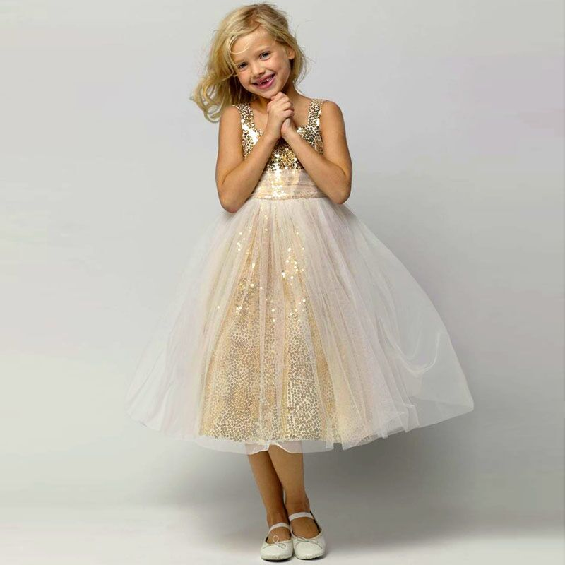 wholesale gold sequin flower girl dresses