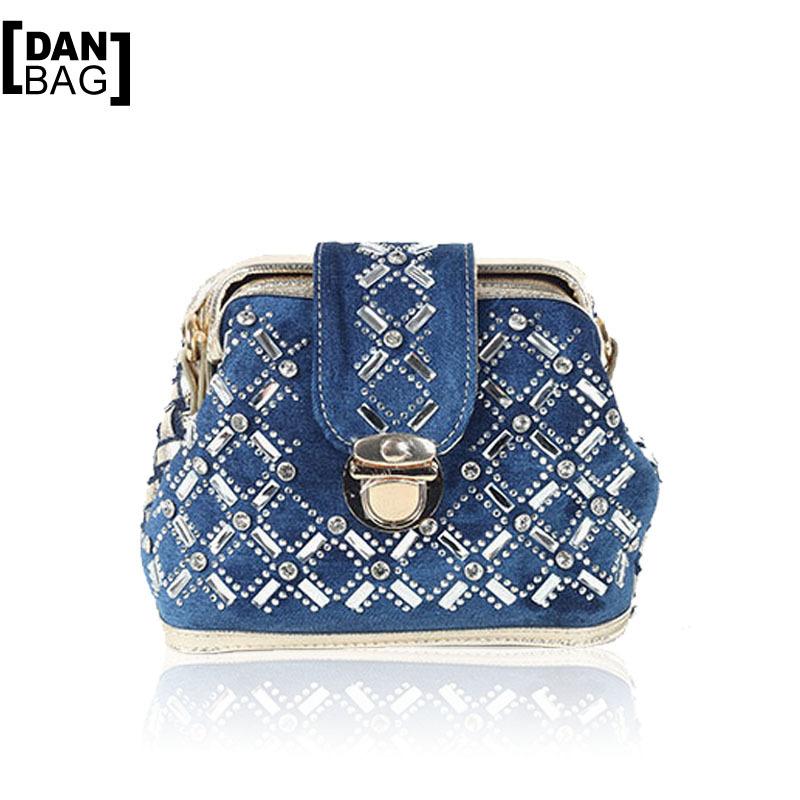 New Brand Hot Vintage Rhinestone Denim Weave Women Shoulder Messenger Bags Casual Delicate Diamond Decorative Small Bags 2 Color<br><br>Aliexpress