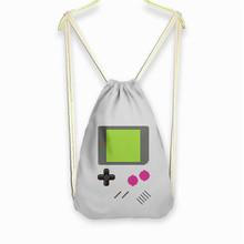 Gameboy 3D printing Women/men mochila escolar fashion bags Travel mochilas Classic canvas backpack drawstring bag gray/sky blue - Angela Fashion Shoe Bar store