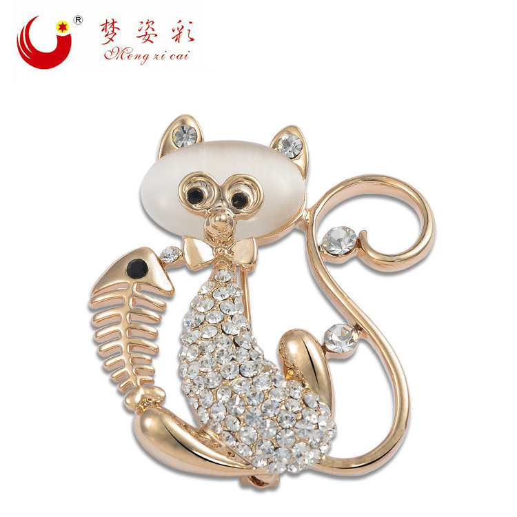 New Fashion Fine Jewelry Opal Brooch Jogos Vorazes Rose Gold Rhinestone Lovely Cat Brooches Pin Up for Women Wedding Dress X1494(China (Mainland))