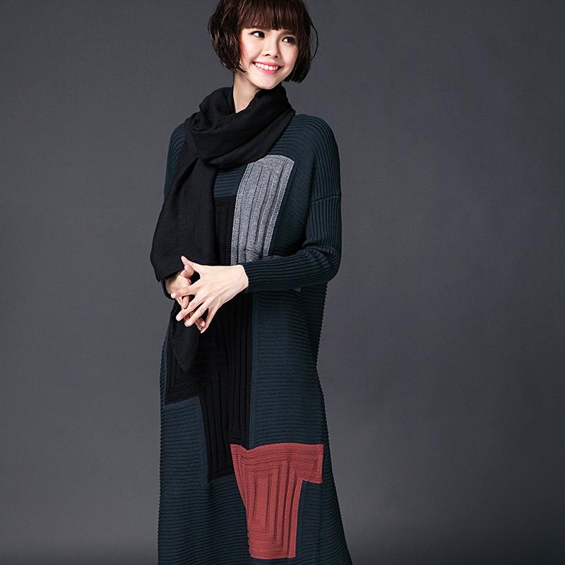 2015 Autumn and Winter Loose Women's Jumper Plus Size One-piece Dress Long-sleeve Women's Sweater Dress Maxi Dress Robe Sweaters