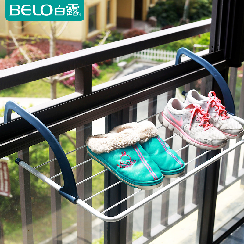 Bailu small multifunctional airer shoe drying rack multi type foldable clothes airer for balcony(China (Mainland))
