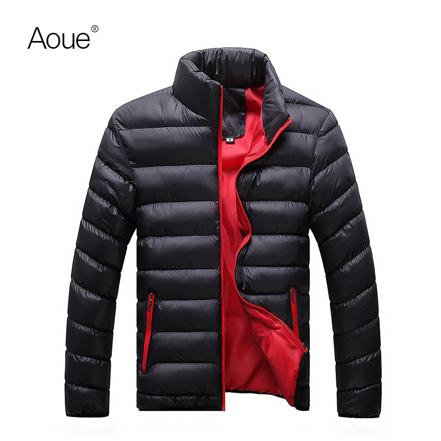 2017 Fashion Mens Clothing Contrast Color Mens Winter Cotton Jackets Men Zipper Coat Winter Casual & Fit Thick Man Down Outwear(China (Mainland))