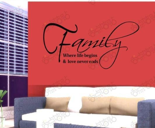 Holiday Sale Family Life Love Removable Vinyl Wall Art Words Stickers DIY Home Decoration Home Decals Quote Free shipping