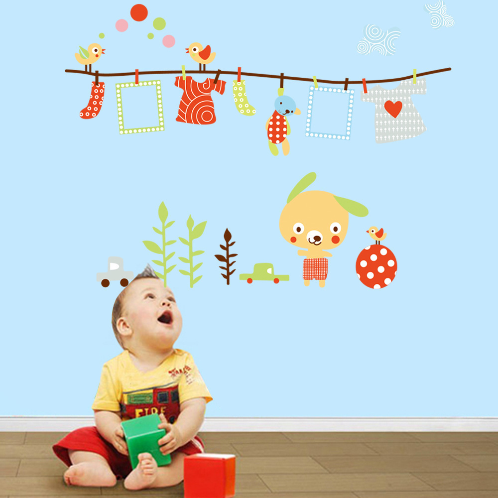 Racks cartoon photo wall stickers decorative wall sticker nursery place for children removable waterproof(China (Mainland))