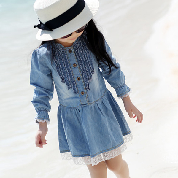 Kids Girls Toddlers Fashion Buttons Demin Baby Tops Shirts Casual Dresses 2-7Y(China (Mainland))