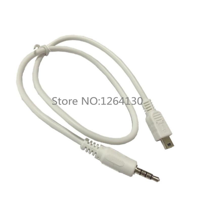 3.5mm Car Hifi AUX Audio Mini USB Cable Cord White For MP3/4 Mini USB Device(China (Mainland))