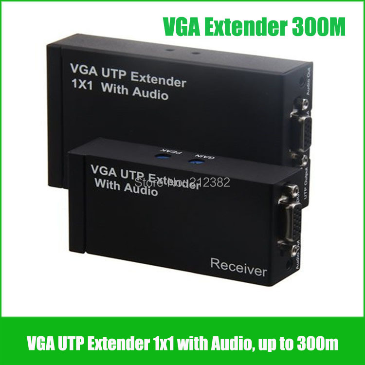 2pairs/lot vga over cat5e VGA Extender with audio VGA UTP extender 1x1 with Audio over cat5e/6 up to 300M with power supply(China (Mainland))