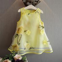 2016 summer new fashion children's clothing baby girl Flowers gauze tutu dress girls vest dress costumes