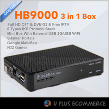 HITECHBOX 3 in 1 OTT with IPTV service DVB-S2 Receiver HB9000/ F4S BOX With Staler Portals Russia,Europe,Middle East ,Turkey