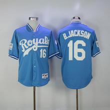 MLB Men's KANSAS CITY ROYALS BO JACKSON Eric Hosmer Salvador Perez Jersey(China)