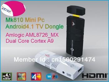 New!! MK810 Android 4.1.2 Mini PC TV Stick Amlogic AML8726_MX 1.6GHz Cortex A9 Dual core 1GB RAM 4GB 3D TV Box