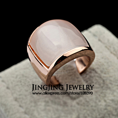 Good Luck Jewellery For Man and Woman 18K Rose Gold Plated Opal Stone Lovers Finger Ring(China (Mainland))