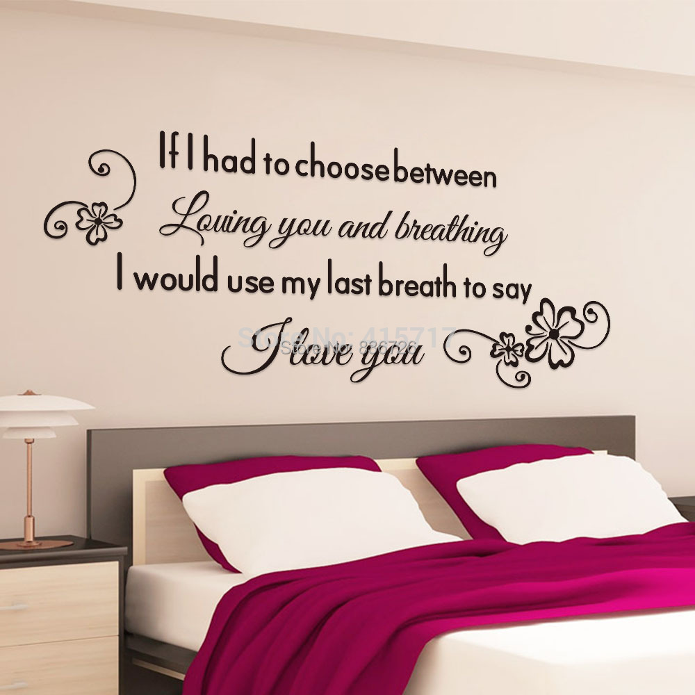 Romantic english proverbs wall stickers home decors for Bedroom 5 letter words