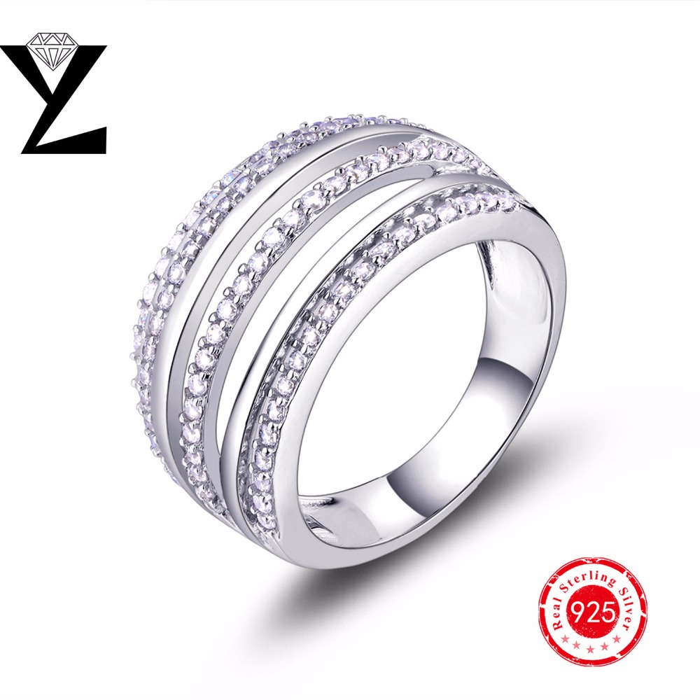 2016 New 100% 925 Sterling Silver Finger Rings For Women Fashion Jewelry Anniversary Engagement Wedding Rings(China (Mainland))