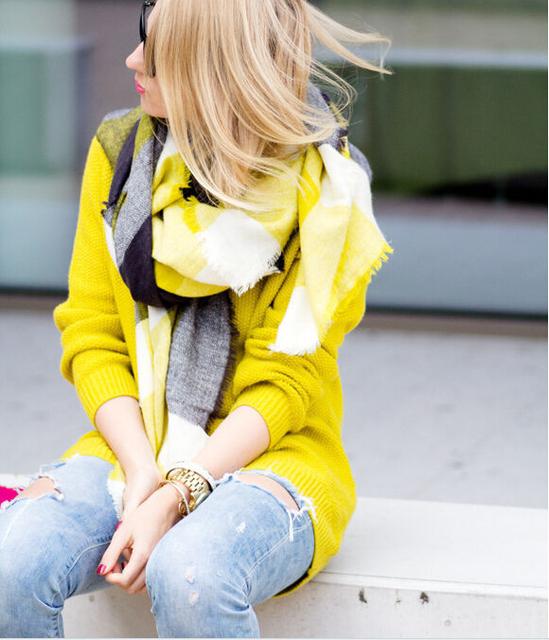 Za зима 2016 тартан шарф плед шарф женщины одеяло негабаритных шали обруча уютный проверено желтый завод