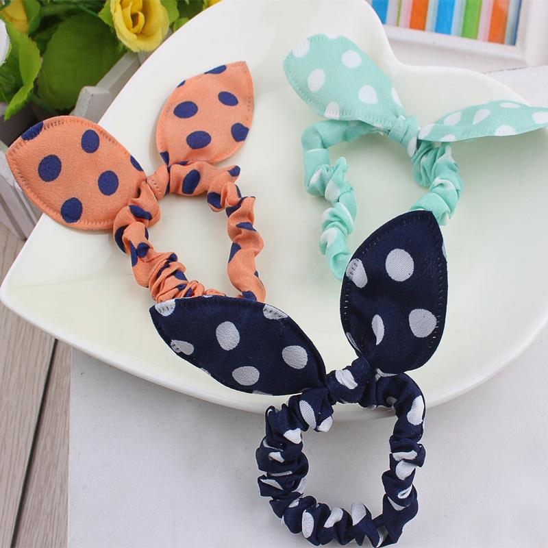 20pcs Hair Band Ties Hair Gum Polka Dot Rope Hair Accessories Bow Tie Baby Girls Rabbit Ears Rubber Band Head Bands Colorful(China (Mainland))