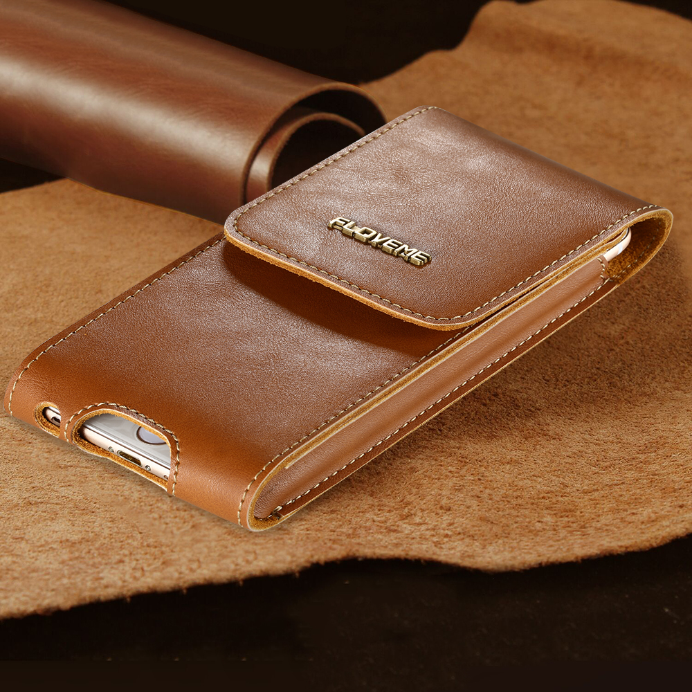 FLOVEME Luxury 5.5'' Genuine Leather Case For iPhone 6 Plus 6S Plus 7 Plus Cases with Clip Belt Full Protective Cellphone Pouch(China (Mainland))