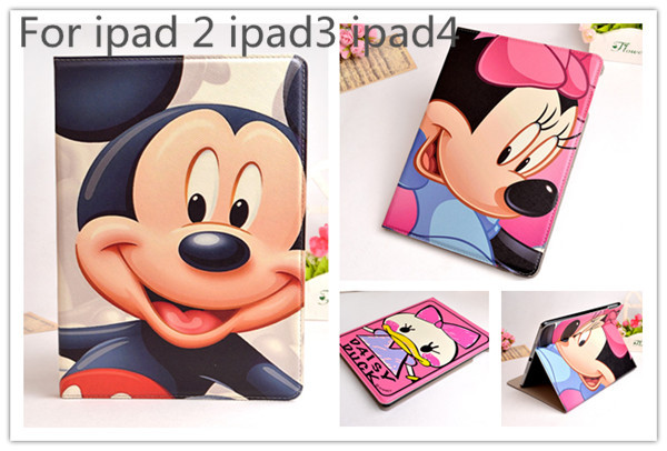 Гаджет  1pcs retail Cute 3D Cartoon Mickey Minnie Mouse Flip Stand PU Leather Smart Cover Case For Apple iPad 2 3 ipad 4 case cover bag None Компьютер & сеть