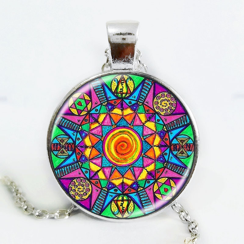 Handmade Kaleidoscope Buddhism Mandala Necklace Art Glass Dome Vintage Neon Blue Pink purple green Mandala boho pendant(China (Mainland))