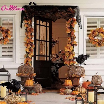 18 x 96 inch Cobweb Fireplace Scarf Halloween Party Decoration Lace Black Spider Web Mantle