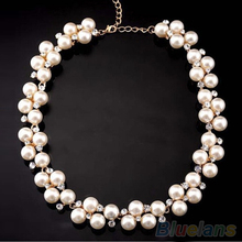 Women's Fashion Shiny Alloy Golden Rhinestone Faux Pearl Beads Necklace Jewelry