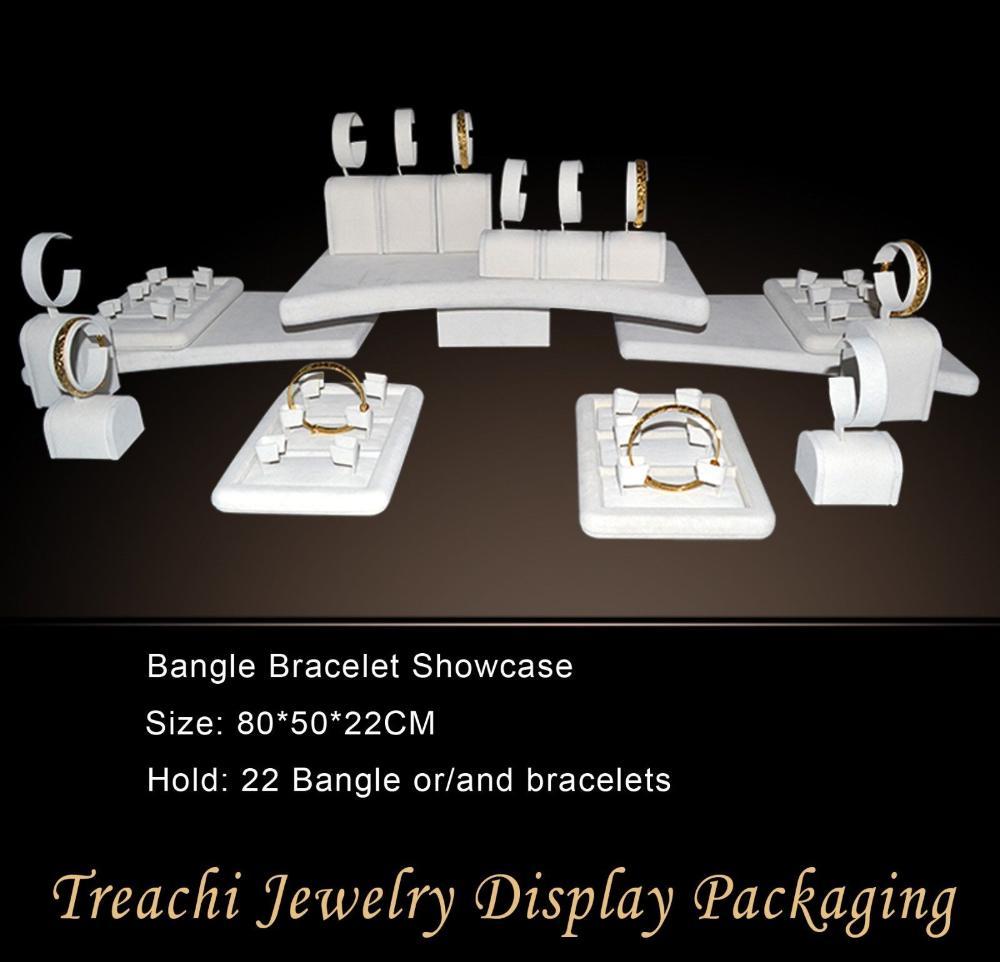 Fashion advanced super deal jewelry setting display beige velvet bangle bracelet holder 22 pecs showcase free shipping(China (Mainland))