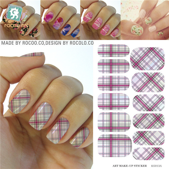 Water Transfer Design Nails Classic Pink White font b Tartan b font Stickers Manicure Styling Tools