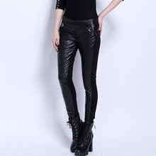 women pants 2016 casual genuine leather pants   sheepskin skinny pants trousers for women Size S-3XL Free Shipping(China (Mainland))