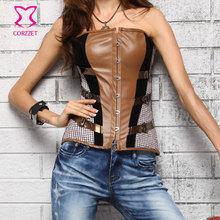 Brown Leather&Black Velvet Patchwork Steampunk Clothing Sexy Overbust Espartilho Corpete Corset Espartilho Women Gothic Corsets