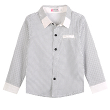 Fashion Boys Formal Plain Long Sleeved Shirt Baby boy Clothing Children Kids Party Polka Dot Shirts Clothes 3-8Y