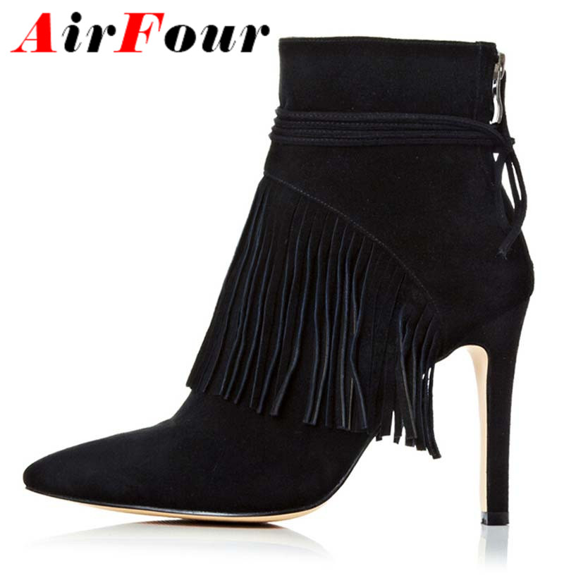 Airfour New Sexy High Heels Black High Heel Ankle Boots for Women Pointed Toe Ankle Boots Wedding Shoes Heels With Tassels Boots(China (Mainland))