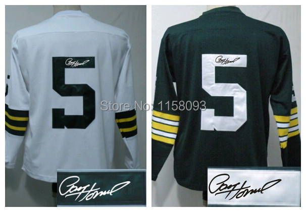 Men's Autograph American Football Jerseys #5 Paul Hornung Vintage Long/Full Sleeve Sportswear,Stitch Signature/Sign Rugby Jersey(China (Mainland))