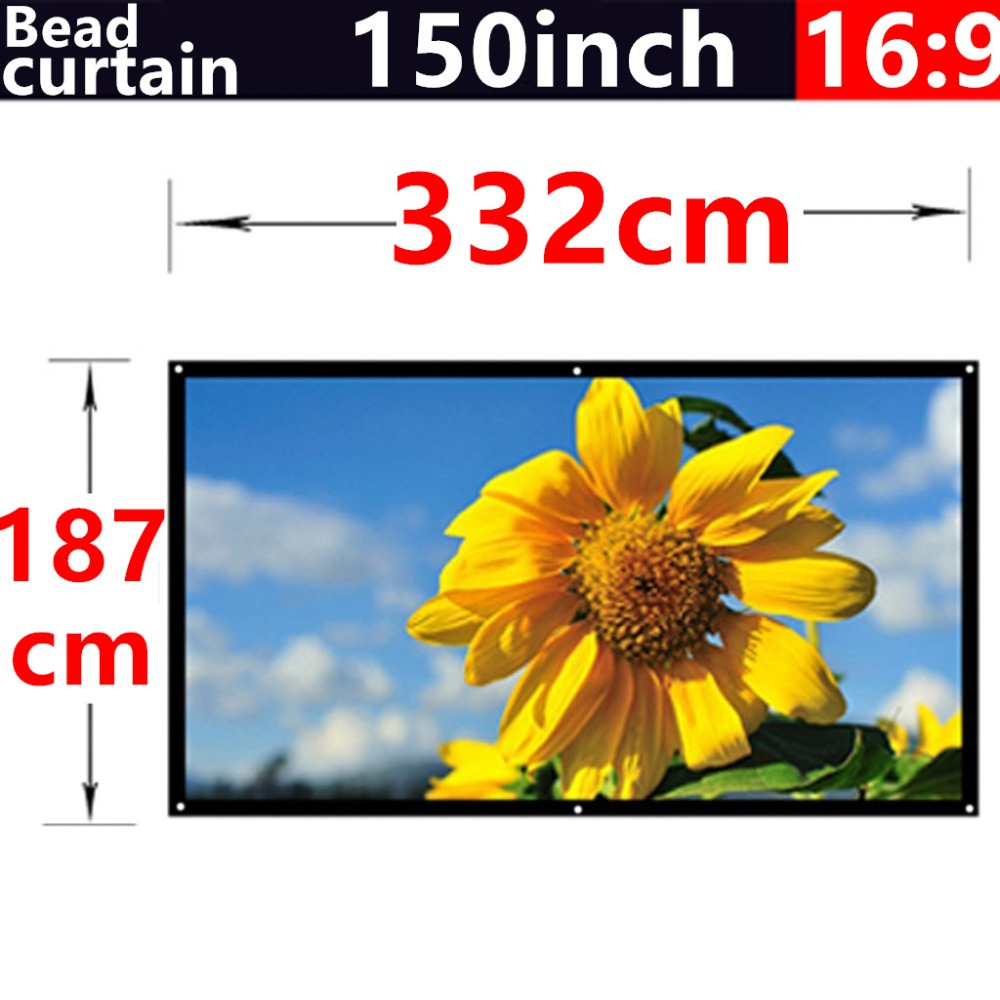 150 Inch16:9 Bead curtain Fabric Matte With 2.8 Gain projection screen Wall Mounted Matt White for all Low brightness projectors<br><br>Aliexpress