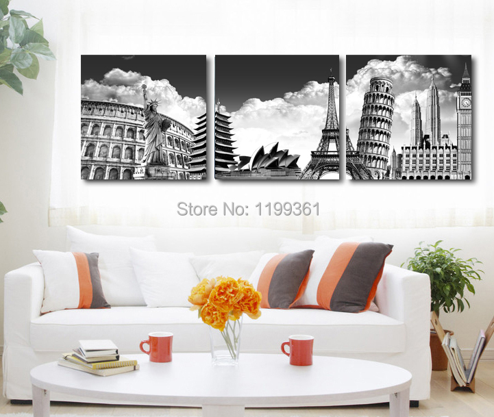 3 Panel Modern Home Decoration Wall Art Black White New York Paris Italy Australia Oil Painting Pictures Frameless Canvas Prints(China (Mainland))