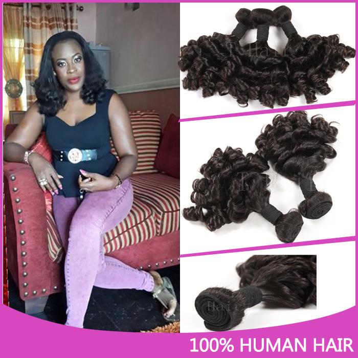 Hot 4 Bundles Top Quality Peruvian 7a Double Drawn Aunty Funmi Hair 100% Human Hair Aunty Funmi Bouncy Curls Extension Hair #1B(China (Mainland))
