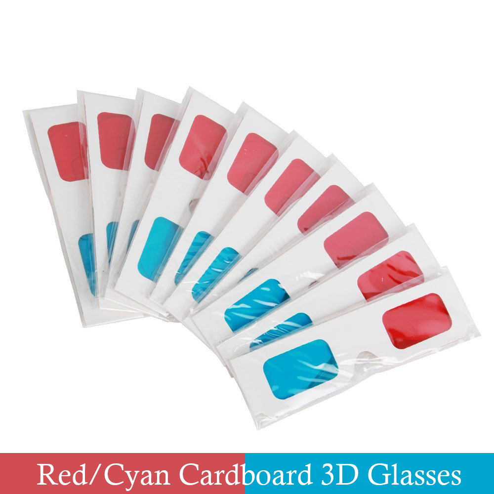 10 Pairs of Red/Cyan Google Cardboard 3D Glasses Separate packing in Protective Sleeve For Dimensional Anaglyph Movie Game DVD(China (Mainland))