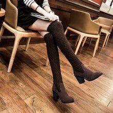 Autumn winter Warm Knitting wool boots fashion women Knit Woolen long boots yarm knitwear over knee high boots High Heel boots(China (Mainland))