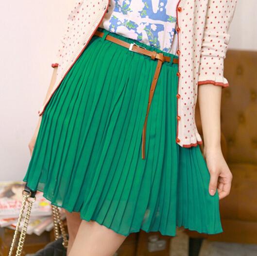 New Fashion Vintage Women Pleated Skirts/Chiffon Mini Skirts For Women/Brand Casual Women Clothing+Belt(China (Mainland))