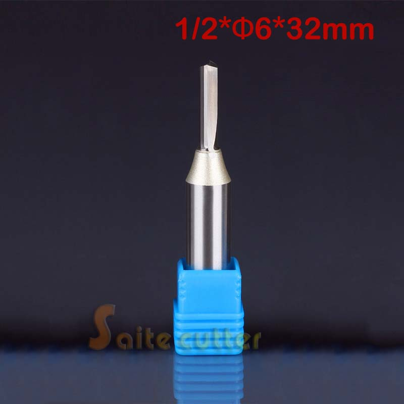 """1pc 12.7*6*32mm TCT Two Double Flutes Straight Slot Bits, Wood Cutters, Solid Carbide Foma CNC Router Bit 1/2""""(China (Mainland))"""