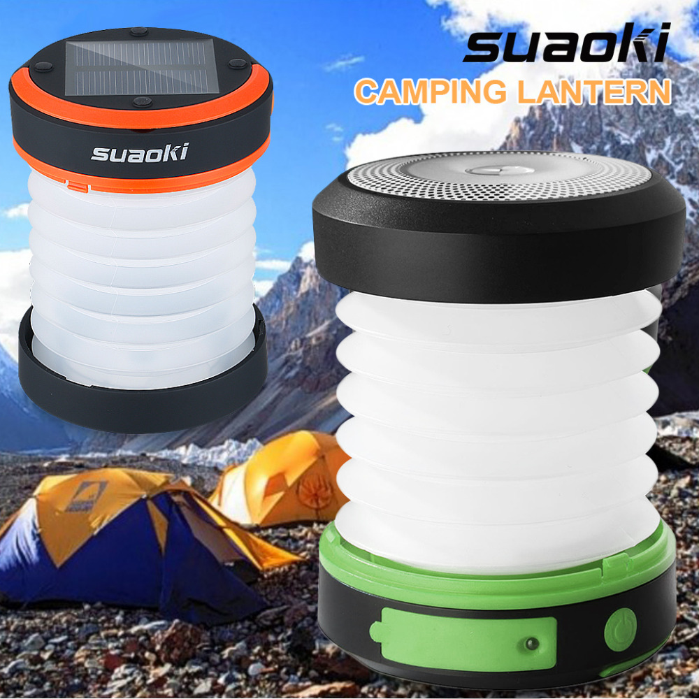 Suaoki Camping LED Lantern USB&Solar Rechargeable Collapsible Light Mini Flashlight Torch Light Waterproof Lantern for Camping(China (Mainland))
